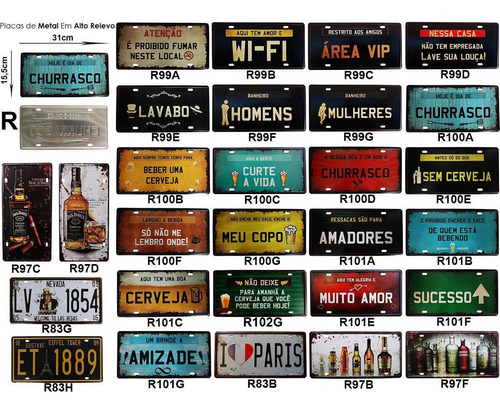 placas de metal retrô vintage fusca kombi café harley indian