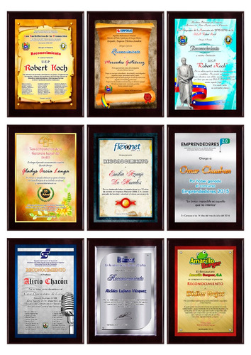 placas de reconocimiento en sublimacion diplomas y mas