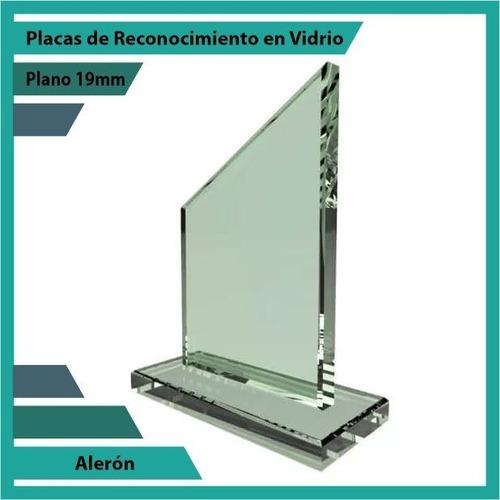 placas de reconocimiento en vidrio forma aleron