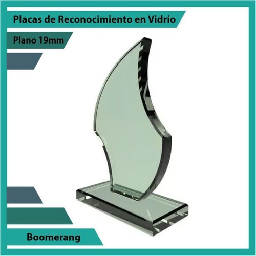placas de reconocimiento en vidrio forma boomerang