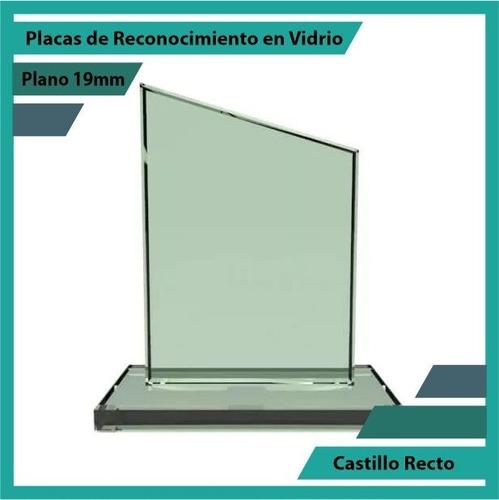 placas de reconocimiento en vidrio forma castillo
