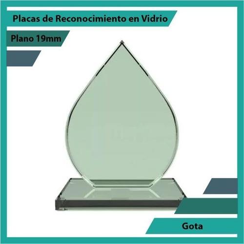 placas de reconocimiento en vidrio forma gota