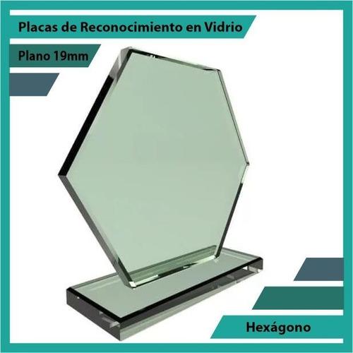 placas de reconocimiento en vidrio forma hexágono