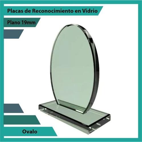 placas de reconocimiento en vidrio forma ovalo