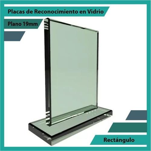 placas de reconocimiento en vidrio forma rectángulo