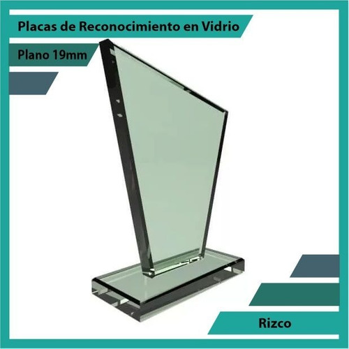 placas de reconocimiento en vidrio forma rizco