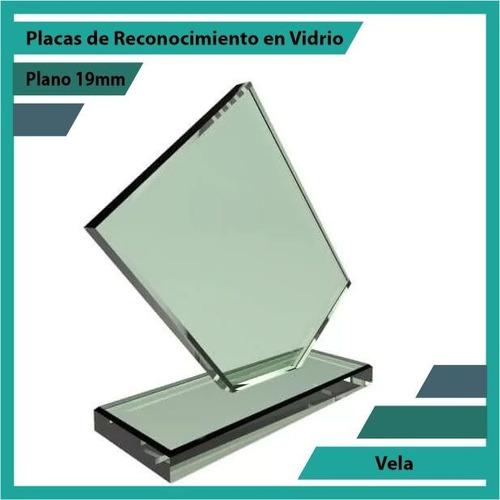 placas de reconocimiento en vidrio forma vela