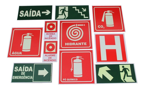 placas de sinalização fotoluminescente - kit 10 und
