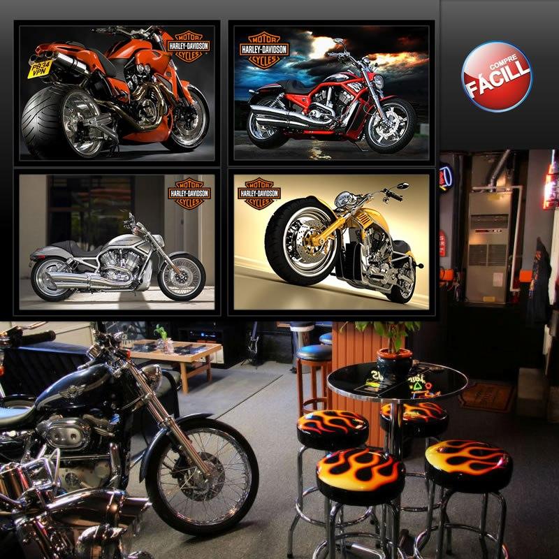 placas decora o motos harley davidson quadros pronto parede r 34 90 em mercado livre. Black Bedroom Furniture Sets. Home Design Ideas