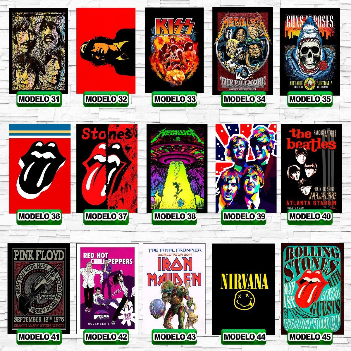Placas Decorativa Rock Vintage Bandas Anos 80 Plaquinha Bar