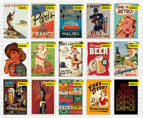 placas decorativas - 20x30 - retro - vintage - bebidas - bar