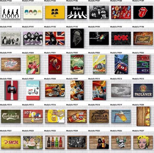 placas decorativas - bebidas games bar lojas carros + brinde