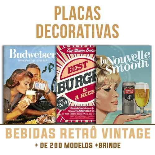 placas decorativas cervejas bebidas retro bar cozinha beer