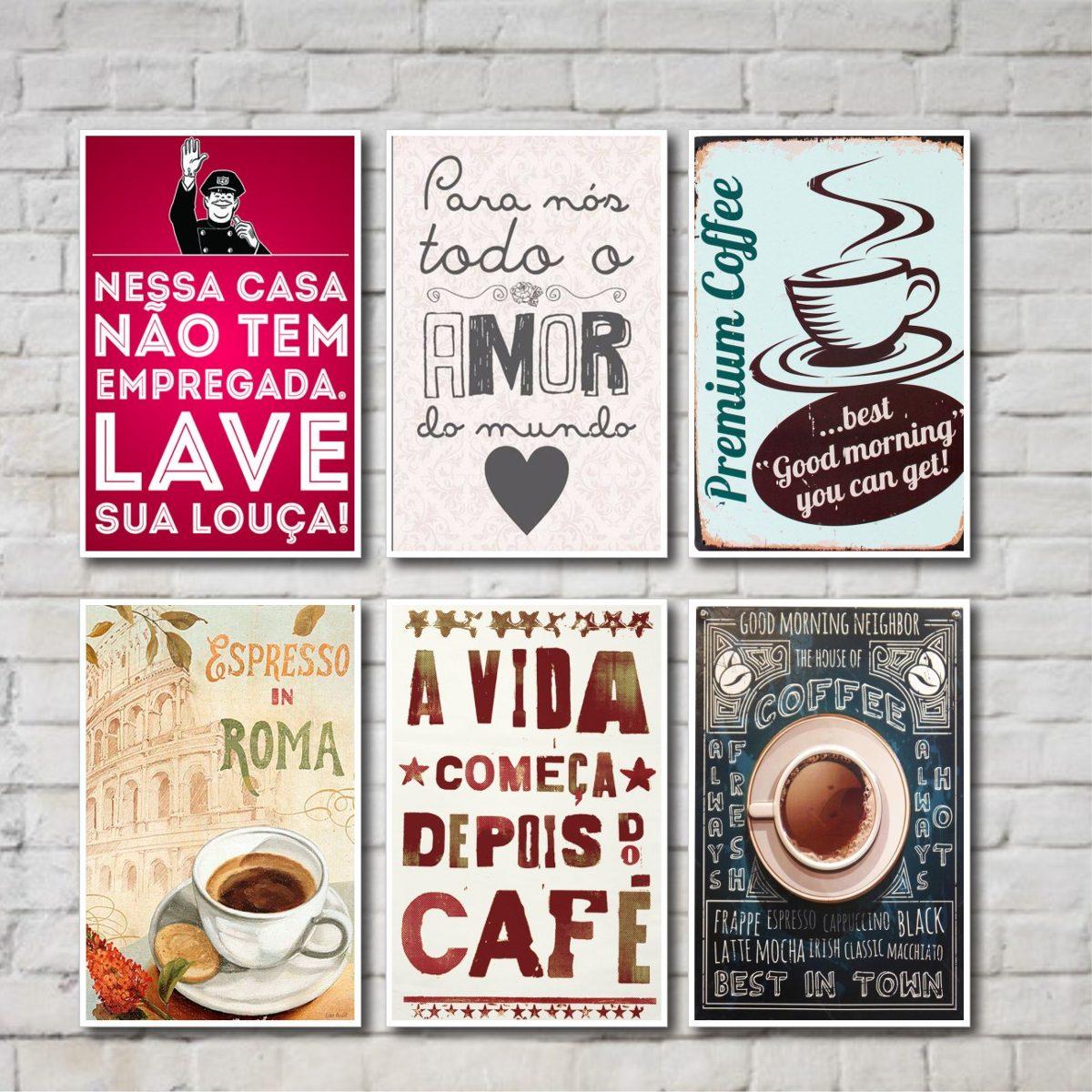 Placas Decorativas Frases Caf Cozinha 06 Placas R 69 90 Em  ~ Frases De Limpeza Na Cozinha