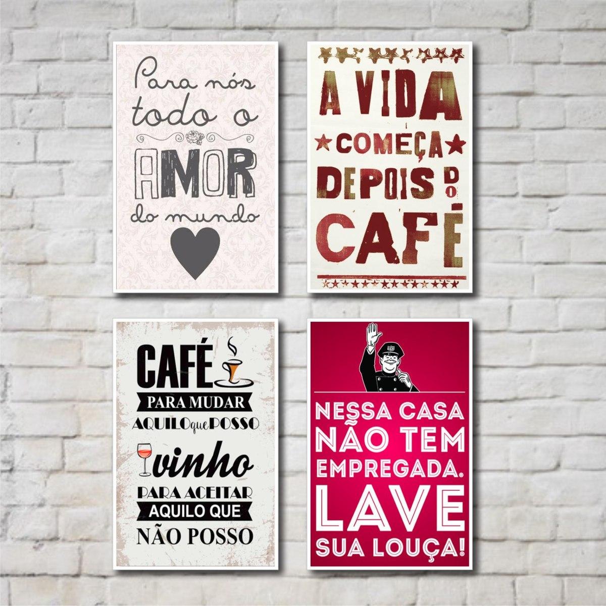 Placas Decorativas Frases Cozinha 04 Placas R 49 90 Em  ~ Frases De Limpeza Na Cozinha