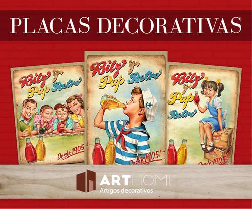 placas decorativas frases vintage retro desenhos 30x20cm