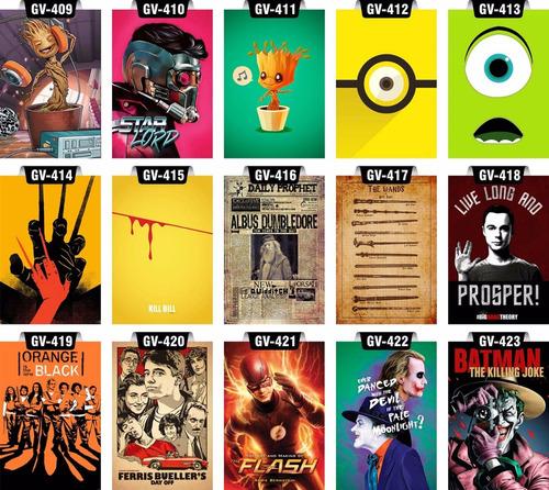 placas decorativas grandes séries filmes heróis