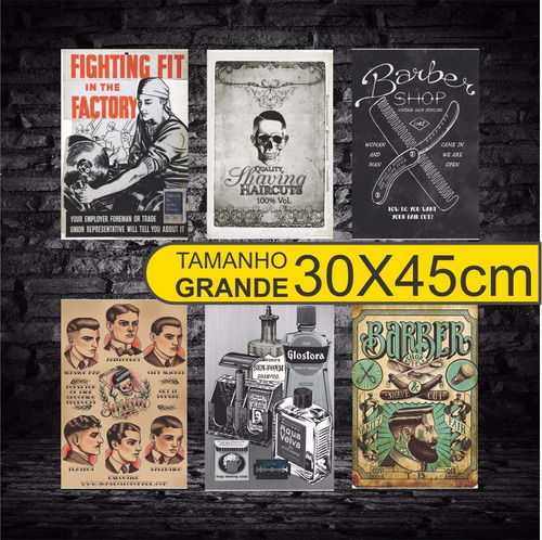 placas decorativas mdf barbearia barber shop grande 30x45cm