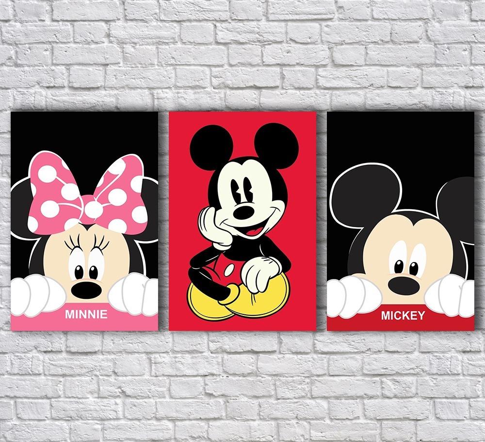 a96cb301e Placas Decorativas Mickey E Minnie Rostos E Nome (conjunto) - R  39 ...