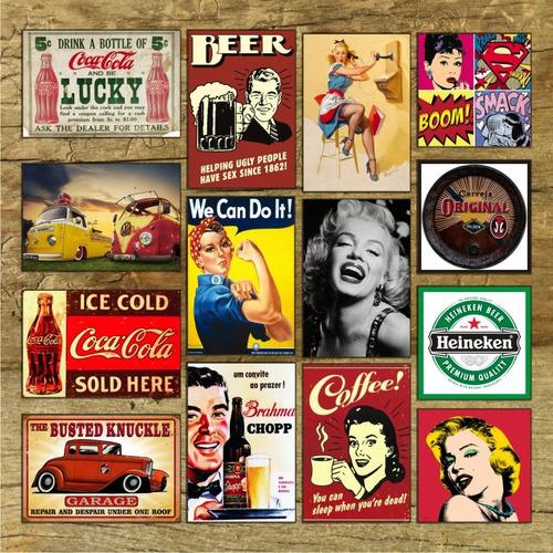 placas decorativas retro, vintage, antigas
