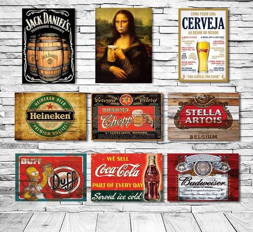 placas decorativas retro vintage heróis frases países 15x10