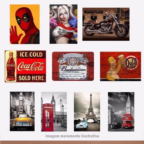 placas decorativas retro vintage heróis frases países 20x30