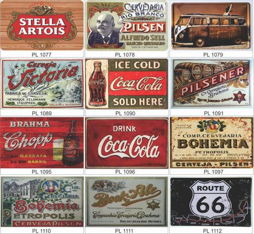 placas decorativas vintage retrô cervejas,bebida só adesivo