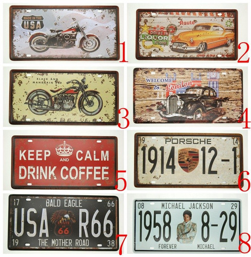 placas decorativas vintage retro antigas