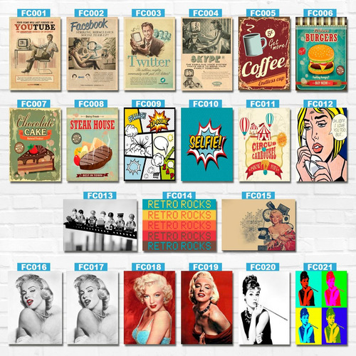 placas decorativas vintage retro bebidas pvc 30 x 40 cm