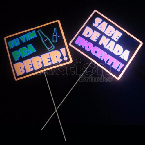 placas divertidas balada neon - kit 10 unidades
