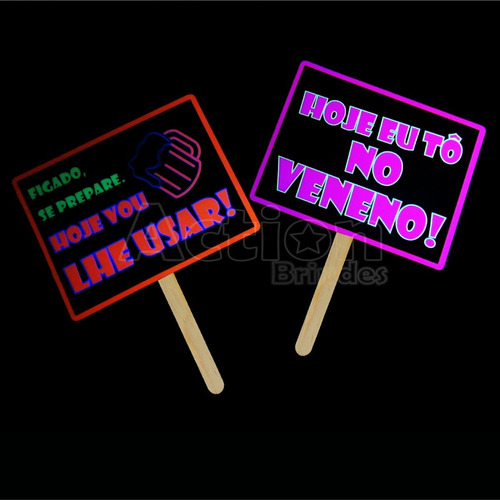 placas divertidas balada neon - kit 10 unidades