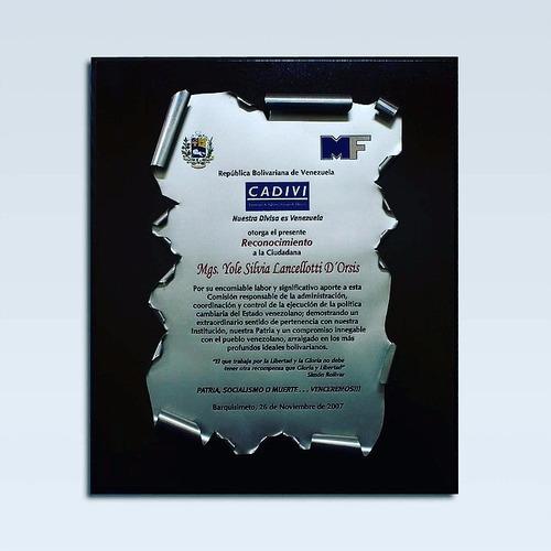 placas fotograbadas de reconocimiento lamina aluminio bronce