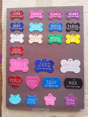 placas identificadoras para mascotas en aluminio grabadas