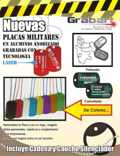 placas militares personalizadas en tecnologia laser