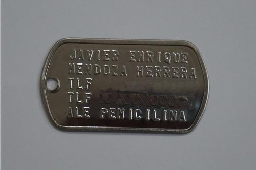 placas militares troqueladas (acero inoxidable)