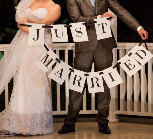 placas para casamento just married (recém casados)