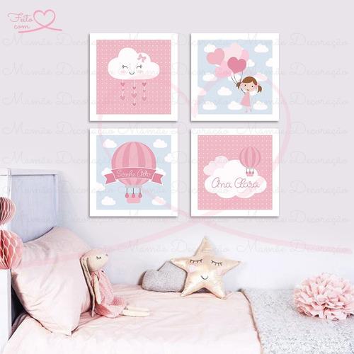placas quadros balão nuvem menina decoração bebê infantil