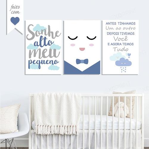 placas quadros quarto bebê infantil  menina(o) sonhe alto