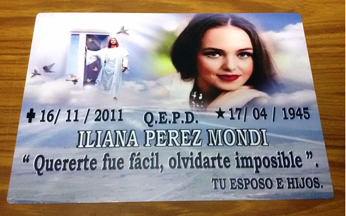 placas recordatorias p/ cementerio en aluminio 28 x 20 cm