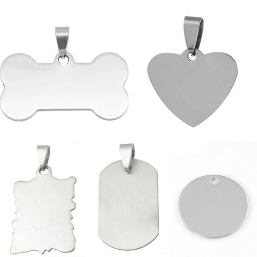 placas tag de acero inoxidable pulido de 1 lado