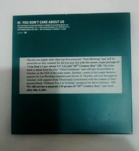 placebo cd single you don t care about us