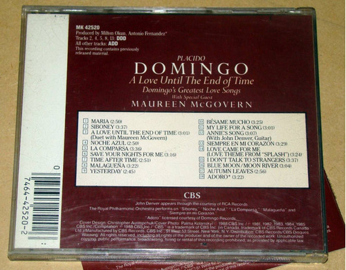 placido domingo a love until the end of time cd usa