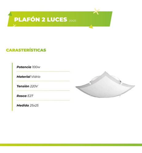 plafón 2 luces vidrio bari 25x25 ideal pasillo apto led p214
