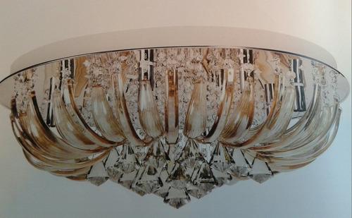plafon 60x25cm com estrutura cromada com cristais