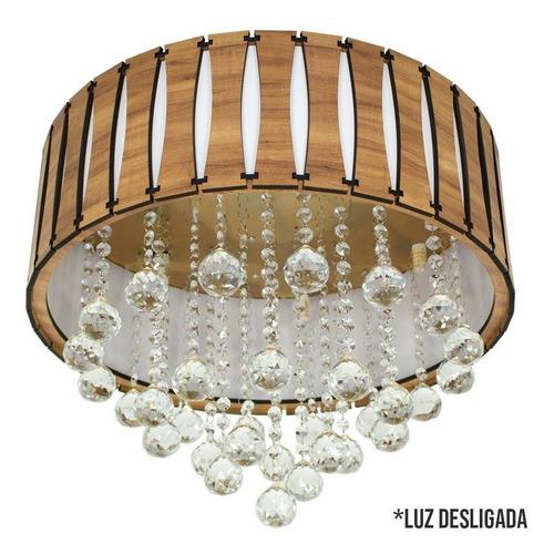 plafon de cristal e madeira redondo 50cm amêndola rústica
