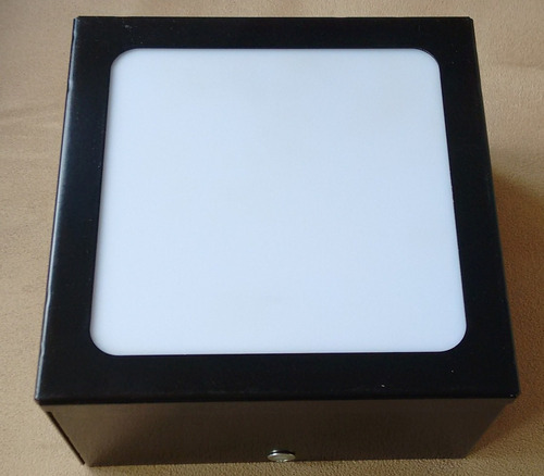 plafon de sobrepor quadrado preto  25x25x8 acrílico leitoso