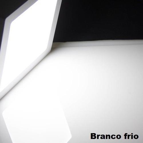 plafon led 24w embutir quadrado 30cm branco frio 6500k kit 10 pcs