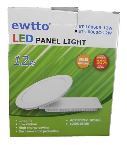 plafon led cuadrado de embutir luz blanca 12w