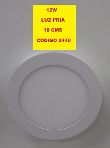 plafon led luz fria 12w 18 cms de diametro