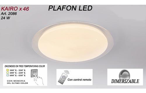 plafon led moderno control remoto kairo 46cm dimerizable cambia de tono cálido, neutro y frío 24w exclusivo luz desing